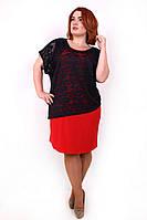 Яркое платье-двойка батал Дейнерис красный (56-62)