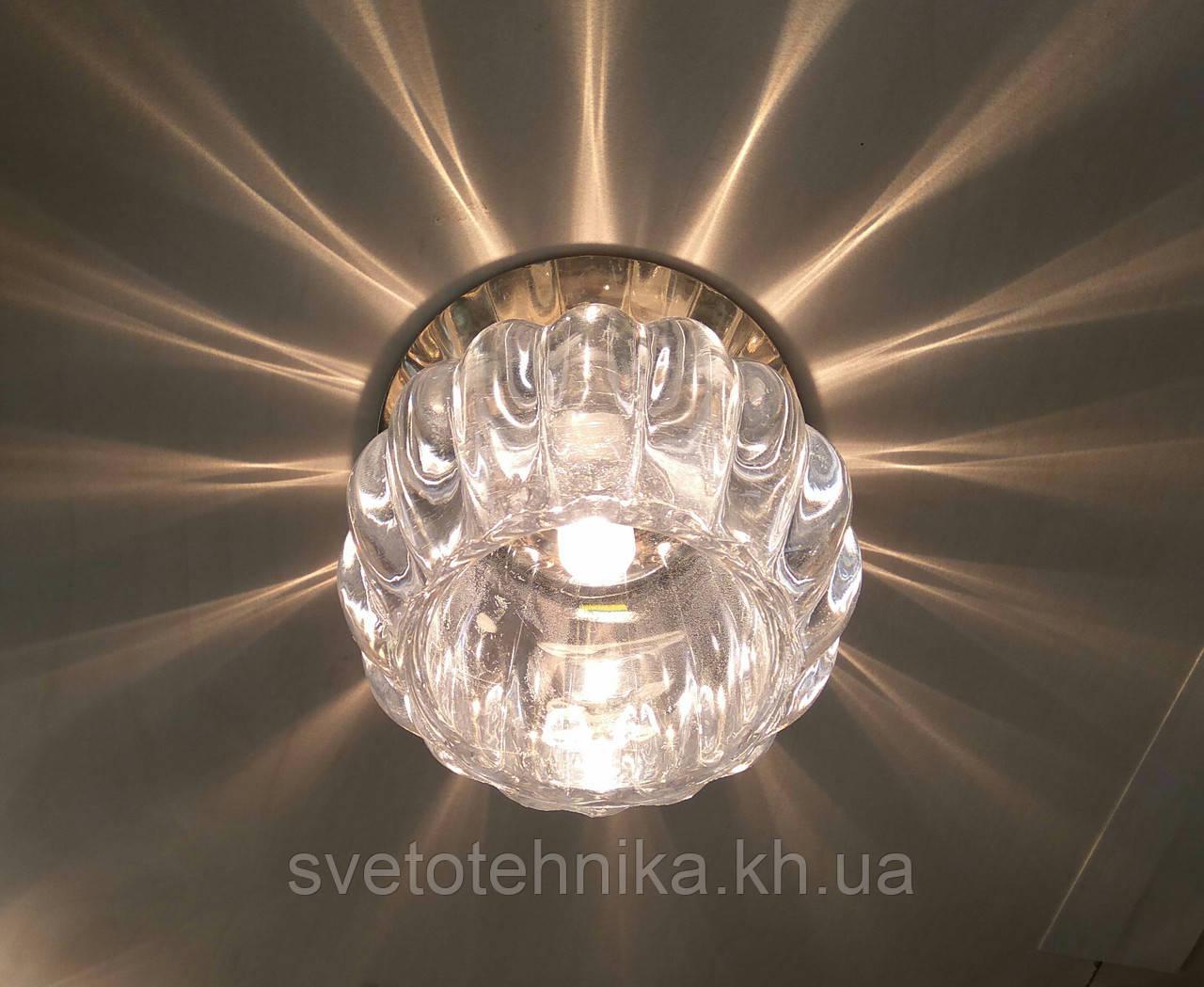 Вбудовуваний декоративний світильник точковий з кристалом Feron JD93 прозорий матовий золото