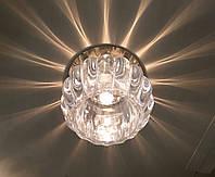 Вбудовуваний декоративний світильник точковий з кристалом Feron JD93 прозорий матовий золото, фото 1