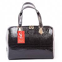 Черная сумка-ракушка женская оригинальная деловая