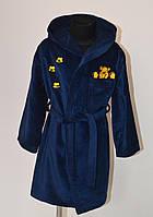 Детский синий махровый халат с вышивкой