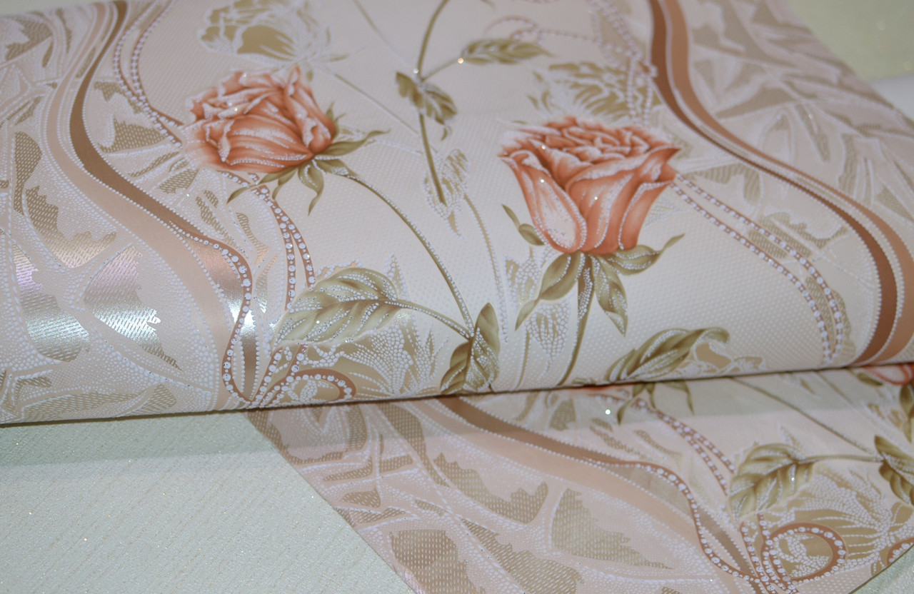 Обои, розы, крупный рисунок, розы, бежевый, акриловые на бумаге, 0,53*10м, ограниченное количество
