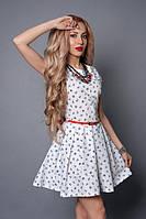 Короткое платьице без рукавов с пояском р 40,42,44,46,48 белый якорь