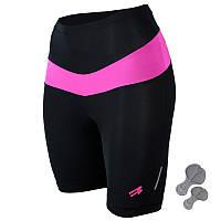 Женские велошорты с памперсом Radical Shine (original), велоштаны, велоодежда, велосипедки Черный с розовым, L