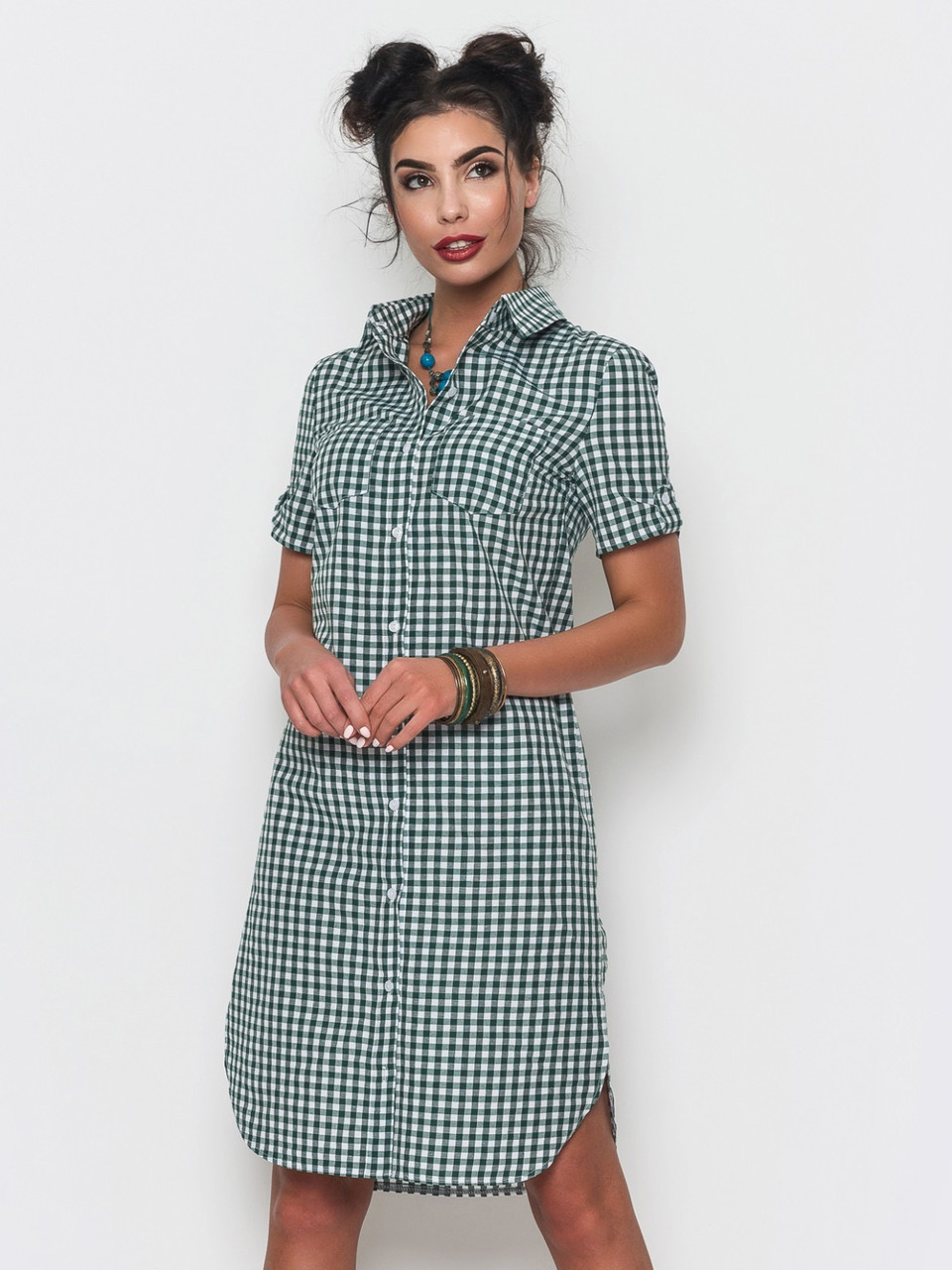 Стильное женское платье-рубашка в клетку р.44 e69130b7c0858