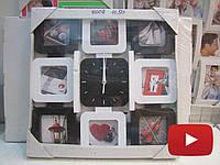 Часы фоторамка коллаж на 8 фото черно-белого цвета