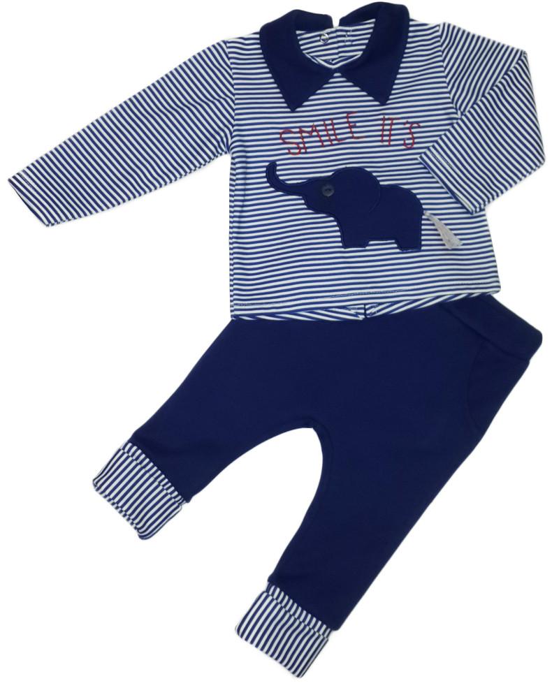Костюм весенний трикотажный на мальчика  (реглан+штаны) голубой размер 68 74 80