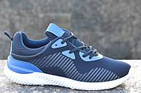 Кроссовки летние мужские очень легкие популярные текстиль темно синие (Код: 604а), фото 1