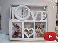 Красивая семейная фоторамка коллаж с часами и надписью Love, белого цвета на 3 фотографии