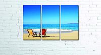 Модульная картина на холсте 3 в 1 Морской пляж 60х90 см