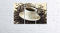 Модульная картина на холсте 3 в 1 Чашка кофе на зернах 60х90 см, фото 1