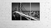 Модульная картина на холсте 3 в 1 Ночной мост 60х90 см, фото 1