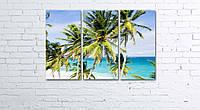 Модульная картина на холсте 3 в 1 Пальмы на пляже 60х90 см, фото 1