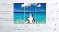 Модульная картина на холсте 3 в 1 Морской мост 60х90 см, фото 1
