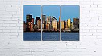 Модульная картина на холсте 3 в 1 Панорама New York 60х90 см, фото 1