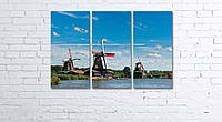 Модульная картина на холсте 3 в 1 Мельница около озера 60х90 см, фото 1