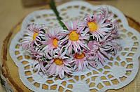 Букет ромашек из ткани (цена за букет из 10 шт). Цвет - бело-розовый