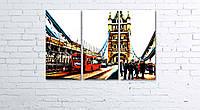 Модульная картина на холсте 3 в 1 Лондонский Тауэр Бридж 60х90 см, фото 1