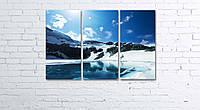 Модульная картина на холсте 3 в 1 Горное озеро 60х90 см, фото 1