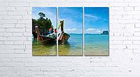 Модульная картина на холсте 3 в 1 Тайские лодки 60х90 см, фото 1