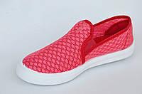 Слипоны мокасины летние сетка женские красные легкие, удобные и практичные 36