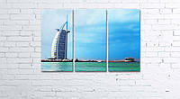 Модульная картина на холсте 3 в 1 Дубаи. Отель Парус 60х90 см, фото 1