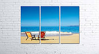 Модульная картина на холсте 3 в 1 Морской пляж 80х120 см