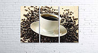 Модульная картина на холсте 3 в 1 Чашка кофе на зернах 80х120 см