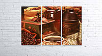 Модульная картина на холсте 3 в 1 Кофе и зерна 80х120 см