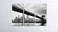 Модульная картина на холсте 3 в 1 Мост 80х120 см