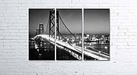 Модульная картина на холсте 3 в 1 Ночной мост 80х120 см, фото 1