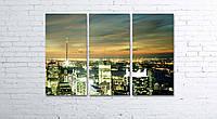 Модульная картина на холсте 3 в 1 Ночной город 80х120 см