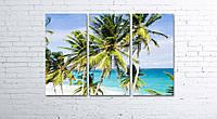 Модульная картина на холсте 3 в 1 Пальмы на пляже 80х120 см, фото 1