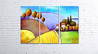 Модульная картина на холсте 3 в 1 Цветной пейзаж 80х120 см, фото 1