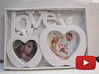 Оригинальная фоторамка коллаж для влюбленных с надписью Love на две фотографии, белого цвета