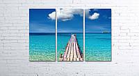 Модульная картина на холсте 3 в 1 Морской мост 80х120 см, фото 1