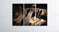 Модульная картина на холсте 3 в 1 Оружие охотника 80х120 см, фото 1