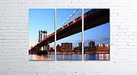 Модульная картина на холсте 3 в 1 Манхэттен. Вечерний мост 80х120 см, фото 1