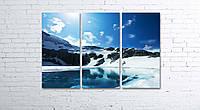 Модульная картина на холсте 3 в 1 Горное озеро 80х120 см, фото 1