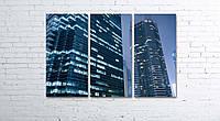 Модульная картина на холсте 3 в 1 Гонконг. Ночные небоскребы 80х120 см, фото 1