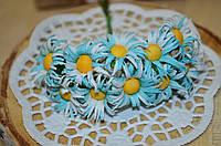 Букет ромашек из ткани (цена за букет из 10 шт). Цвет - бело-голубой