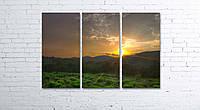 Модульная картина на холсте 3 в 1 Утро в горах. Северный Кавказ 80х120 см, фото 1