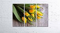 Модульная картина на холсте 3 в 1 Желтые тюльпаны 80х120 см, фото 1