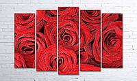 Модульная картина на холсте 5 в 1 Розы 100х150 см (секции разного размера)