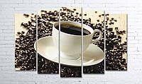 Модульная картина на холсте 5 в 1 Чашка кофе на зернах 100х150 см (секции разного размера)