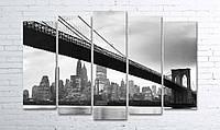 Модульная картина на холсте 5 в 1 Мост 100х150 см (секции разного размера)