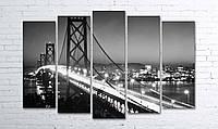 Модульная картина на холсте 5 в 1 Ночной мост 100х150 см (секции разного размера)