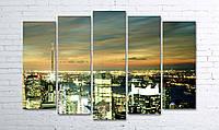 Модульная картина на холсте 5 в 1 Ночной город 100х150 см (секции разного размера)