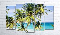 Модульная картина на холсте 5 в 1 Пальмы на пляже 100х150 см (секции разного размера)