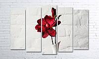 Модульная картина на холсте 5 в 1 Красный цветок в белой вазе 100х150 см (секции разного размера)